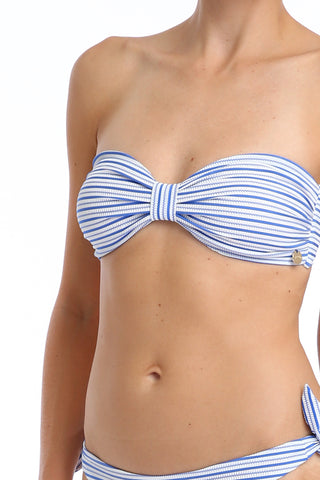 'Bardot' bikini top in 'Blue Candy'