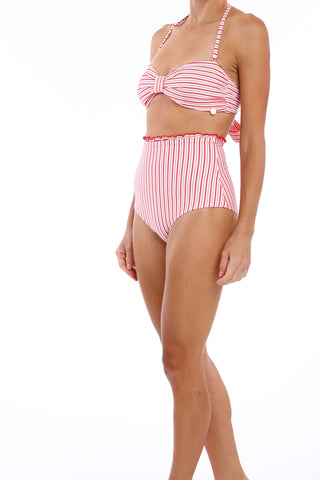 'Bardot' bikini top in 'Red Candy'