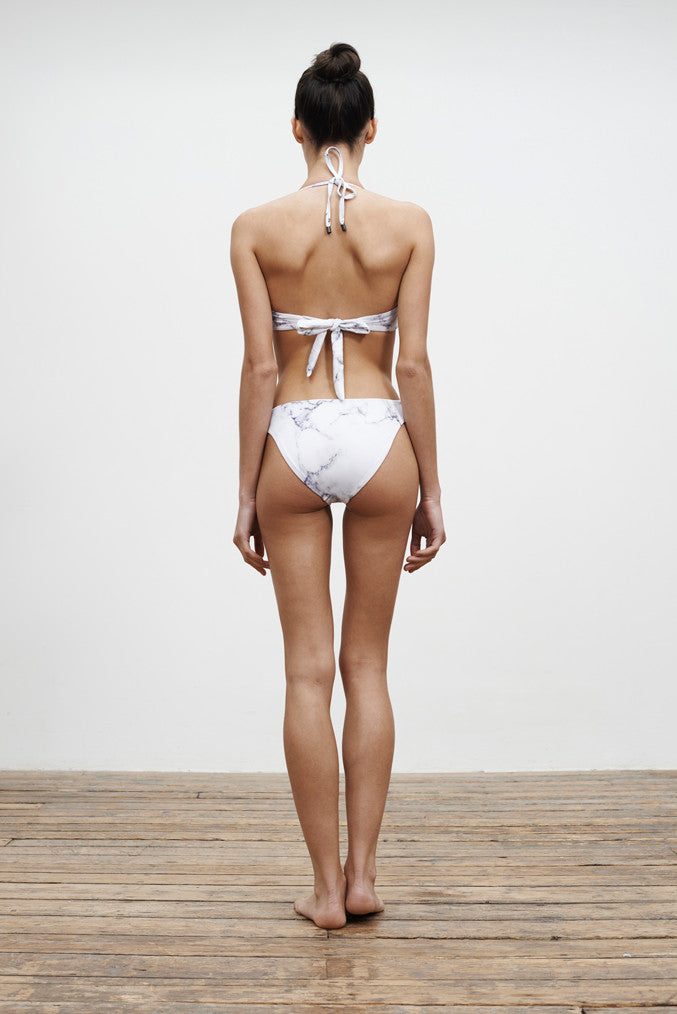 'Barre' Reversible bikini bottoms in 'White Marble'