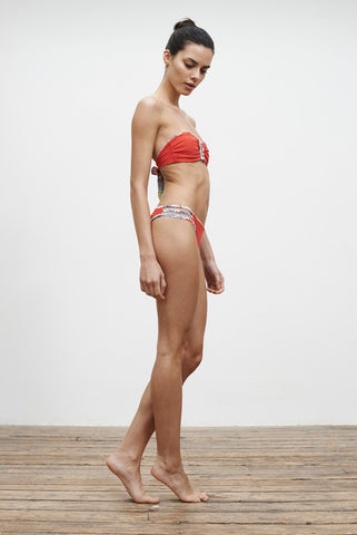 'Barre' Reversible bikini top in 'Wild Floral/Coral Red'
