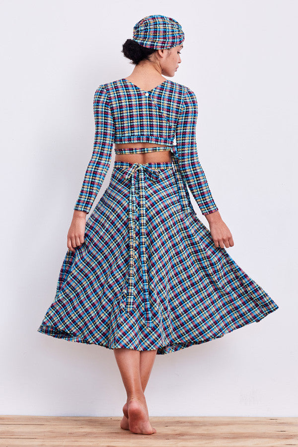 'Calypso' skirt in 'Blue Gingham'