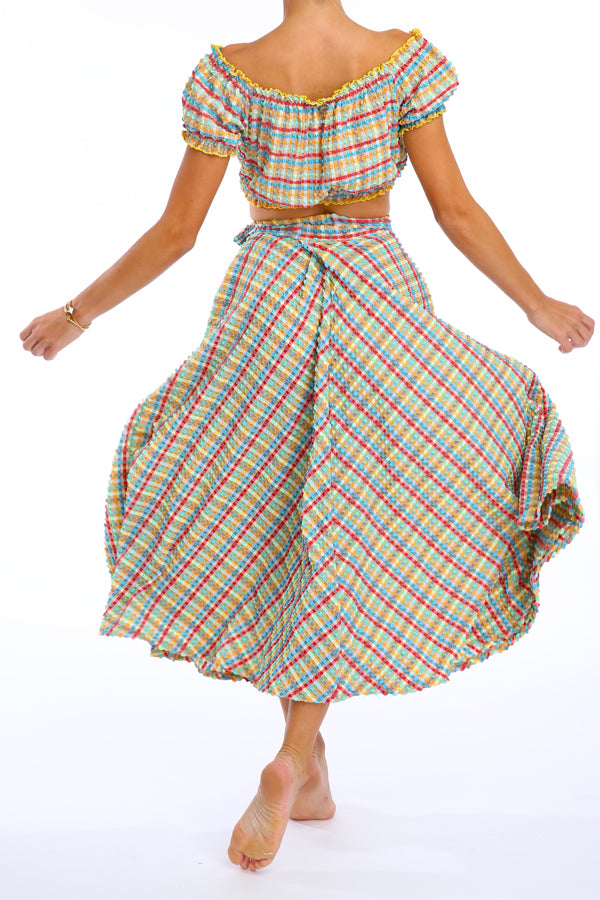 'Calypso' skirt in 'Yellow Gingham'