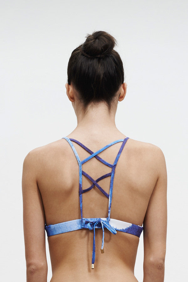 'En Pointe' Reversible bikini top in 'Blue Ink'