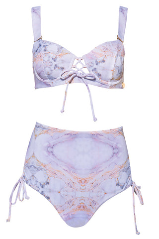 'Eos' bikini set in 'Pink Marble'