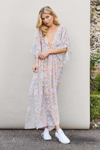 'Isabel' Kaftan in 'Pink Marble'- collaboration with Hesper Fox