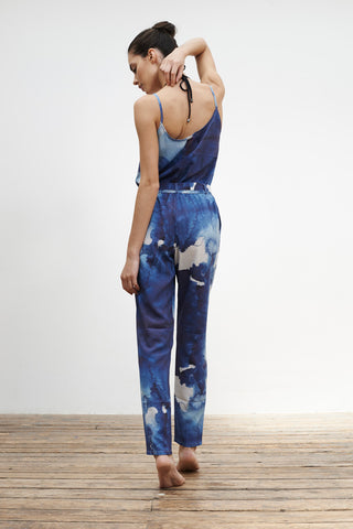 'Hydrangea' jumpsuit in 'Blue Ink'