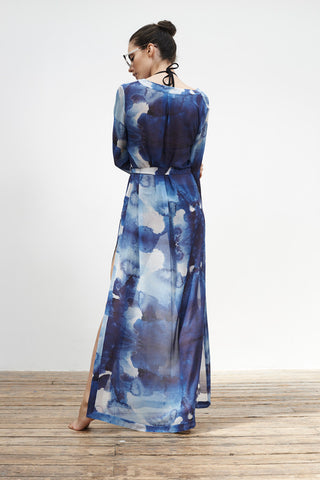 'Jasminum' long kaftan in 'Blue Ink'