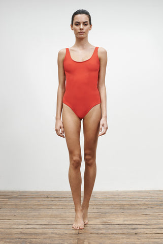 'Leotard' reversible swimsuit in 'Wild Floral & Coral Red'