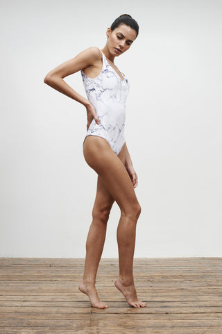 'Leotard' reversible swimsuit in 'White Marble & Dusty Rose'