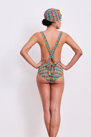 'Lilium' swimsuit in 'Orange Rainbow Gingham'