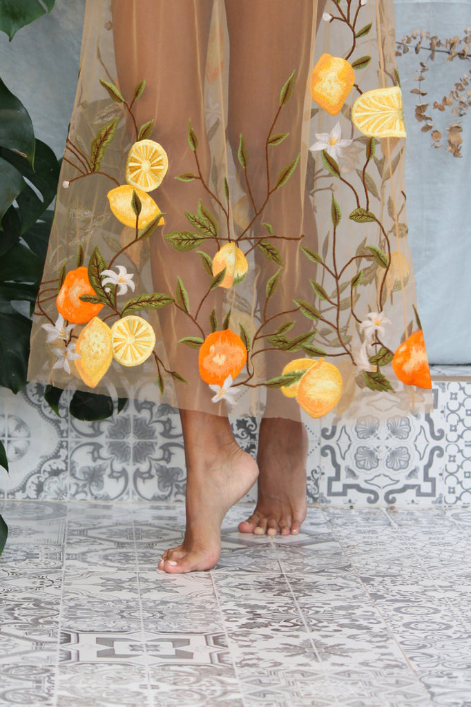 'Ophelia' embroidered dress in 'Orange & Lemon Blossom'
