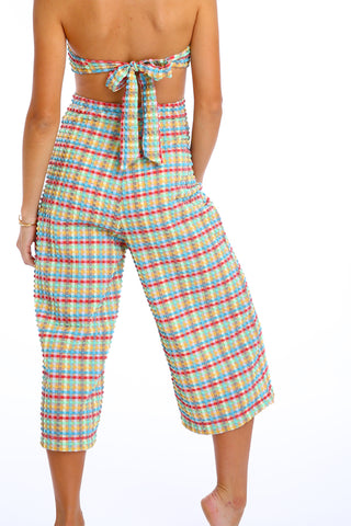 'Orchis' trouser in 'Yellow Gingham'