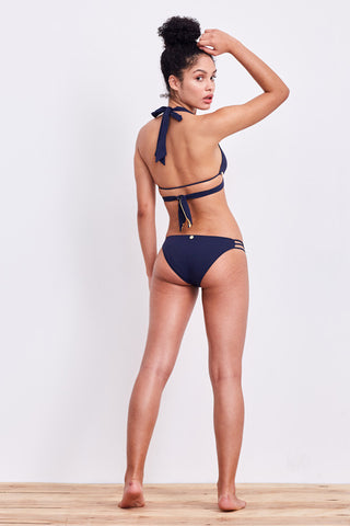 'Paeonia' ladder bikini briefs in 'Midnight'