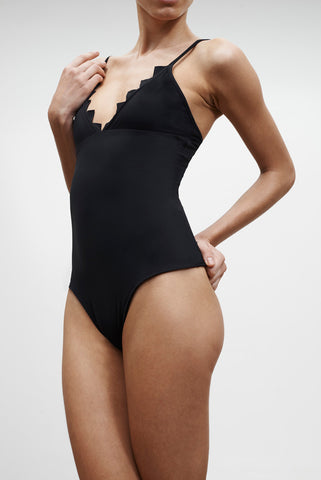 'Pas de Chat' Reversible swimsuit in 'Black Marble'