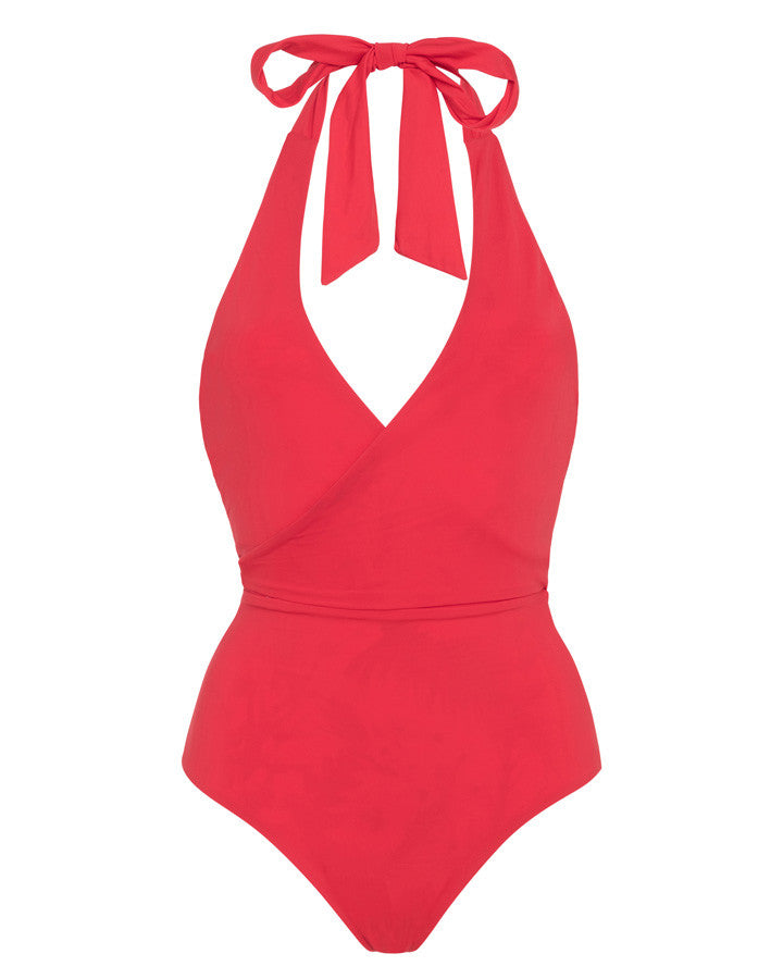 'Pirouette' reversible swimsuit in 'Wild Floral & Coral Red'