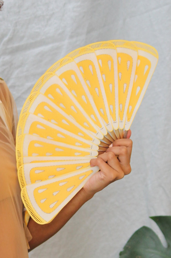 Pubumesu X Lilliput & Felix - handpainted leather lemon slice fan