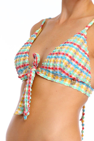 'Twiggy' bikini top in 'Yellow Gingham'