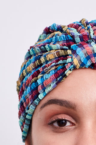 Turban in Blue Gingham