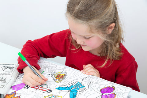 colour-in butterfly placemat educational table activity