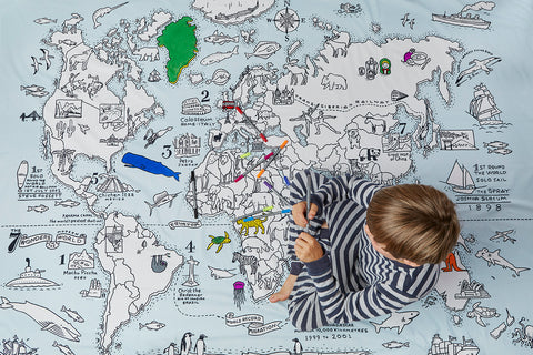 the world map duvet cover to colour in