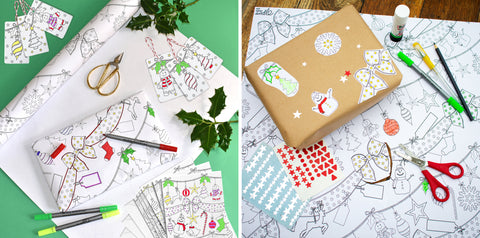 colour-in festive wrapping paper