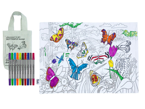 colour in butterfly placemat
