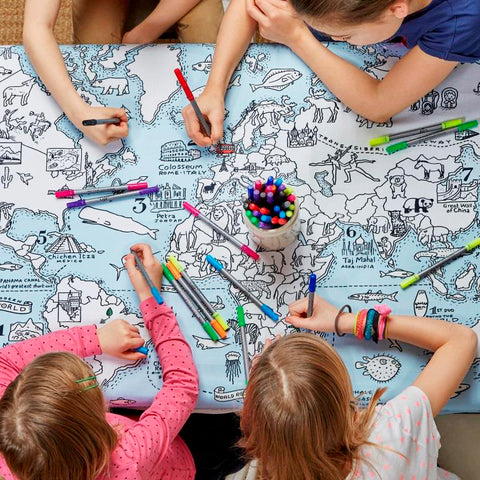 virtual travel with world map tablecloth