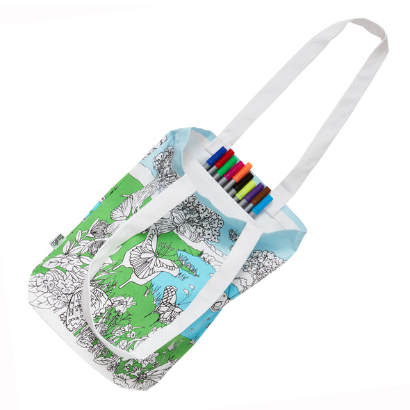 washable school bag with pens