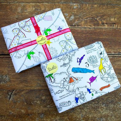 colour-in wrapping paper