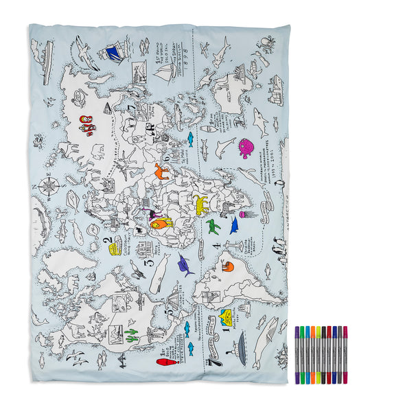 colour & learn world map duvet cover - twin