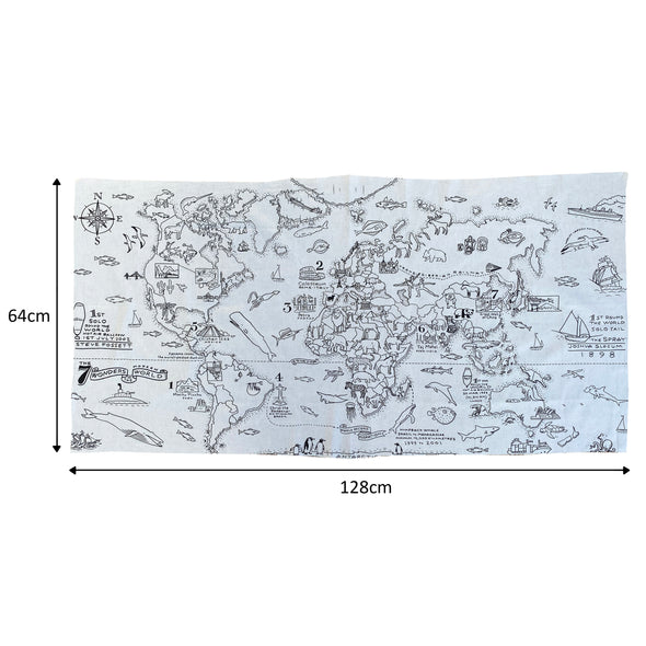 world map fabric length