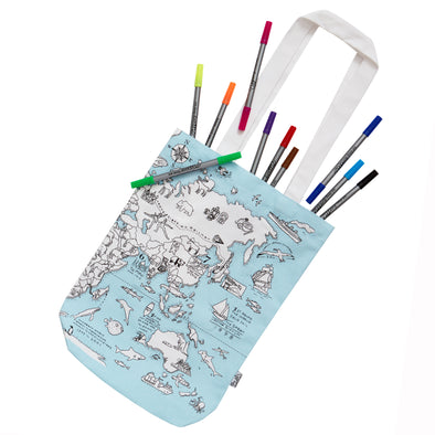 world map washable bag to colour