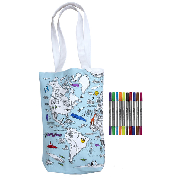 colour & carry world map tote