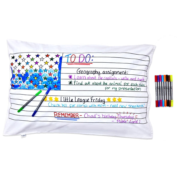 US map pillowcase - colour in & learn