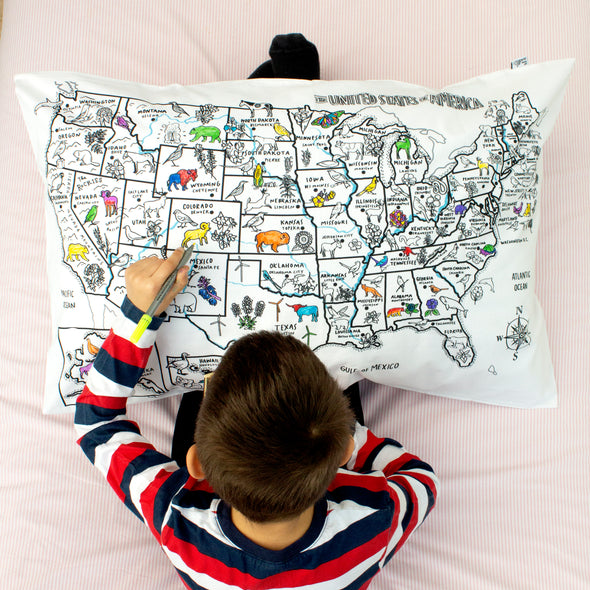 map of america pillowcase for kids