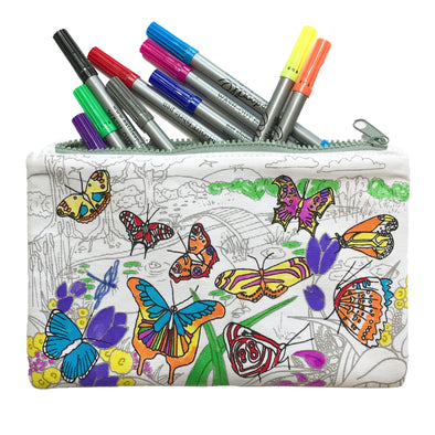 butterfly pencil case with washout pens