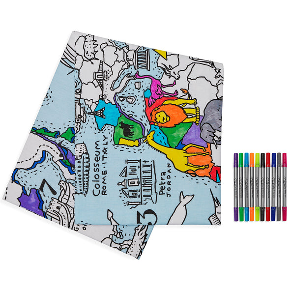 colour & learn world map tablecloth