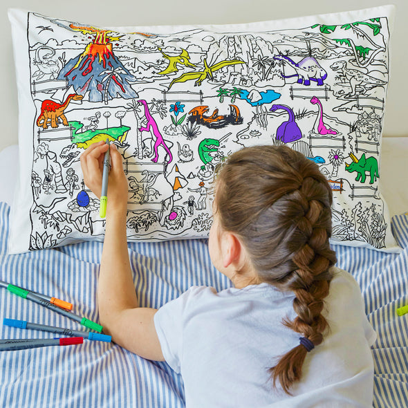 colour in pillowcase for kids dinosaurs