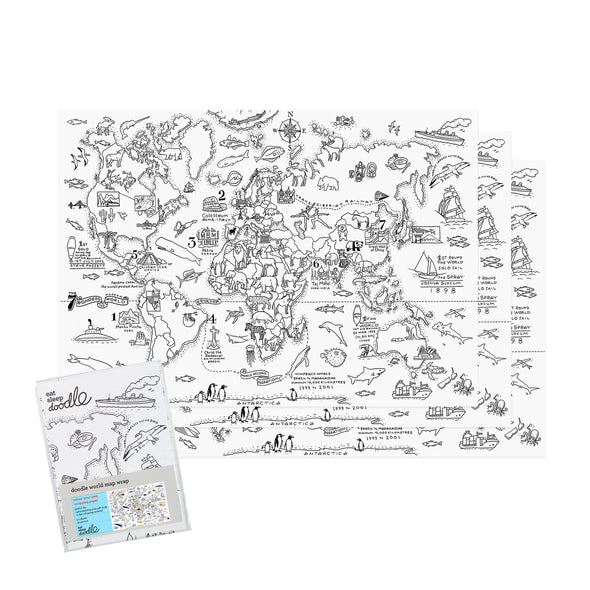 world map printed paper colouring activity