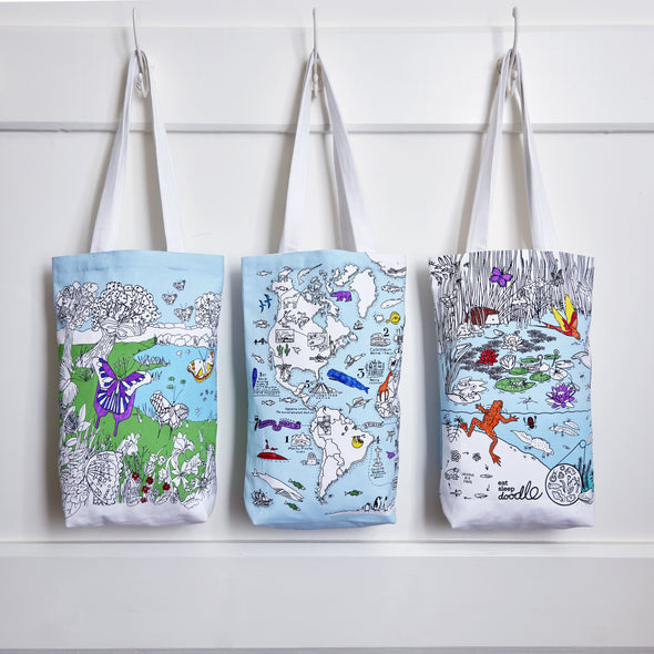 eatsleepdoodle tote bags for all ages