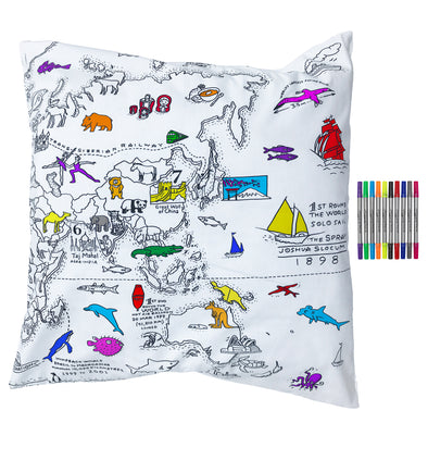colour & learn world map pillowcase 80x80cm