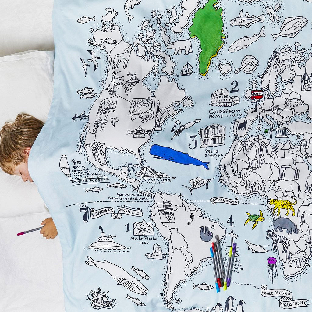 World map colour and learn cotton duvet cover eatsleepdoodle colour learn world map duvet single gumiabroncs Images