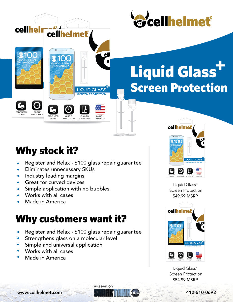 cellhelmet Liquid Glass+ Screen Protector Wholesale Information Sheet