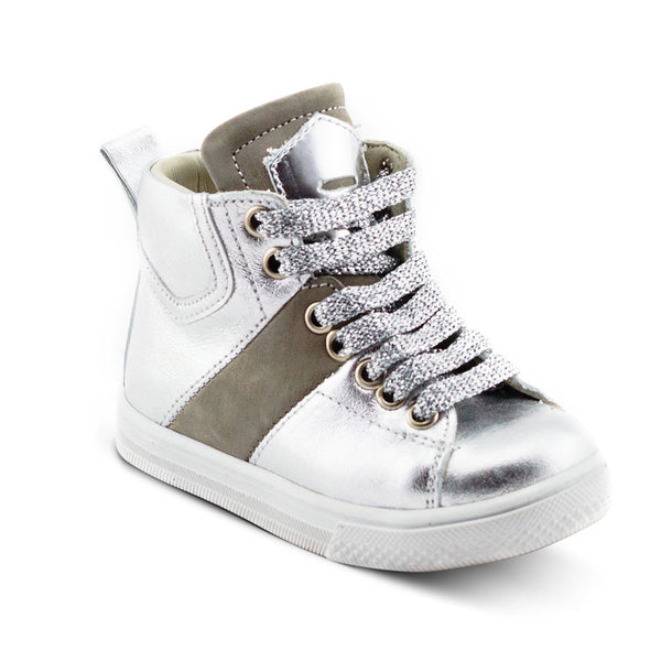 Hero Image for BRIGHTY AVA silver high-top sneakers