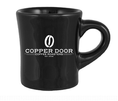 Black Classic Diner Mug with Copper Door Coffee Roasters Logo
