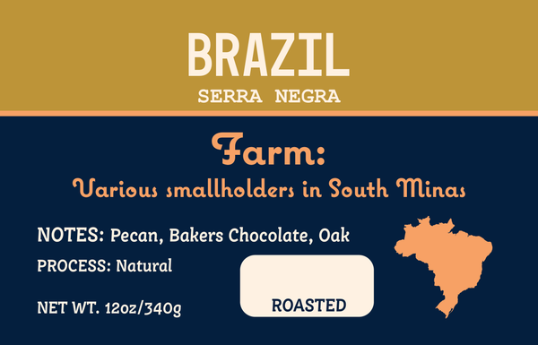 Brazil Label with notes of Pecan, Baker's Chocolate, and Oak