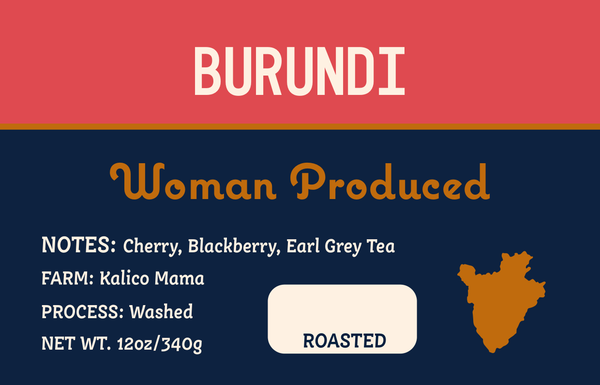 Burundi label with notes of Cherry, Blackberry, Earl Grey Tea