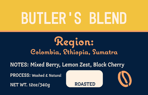 Butler's Blend Label with notes of Mixed Berry, Lemon Zest, Black Cherry