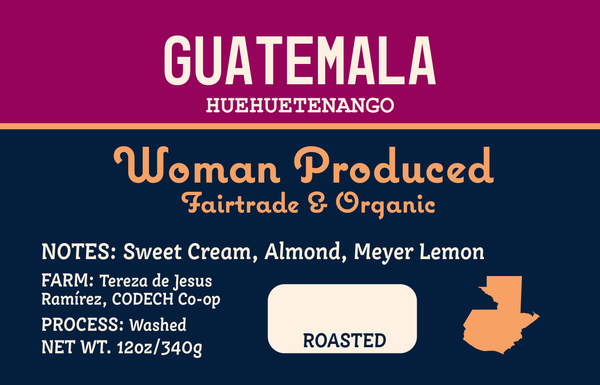 Guatemala label with notes of Sweet Cream, Almond, Meyer Lemon
