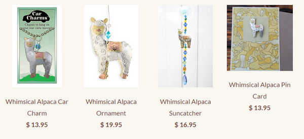 Whimsical alpaca charms